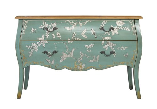 Fine Asianliving Chinese Sideboard Handpainted Blue Birds L120xW48xH80cm