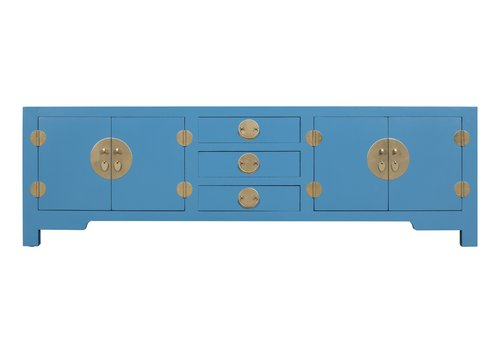 Fine Asianliving Chinese TV Stand Bench Sapphire Blue - Orientique Collection W175xD47xH54cm