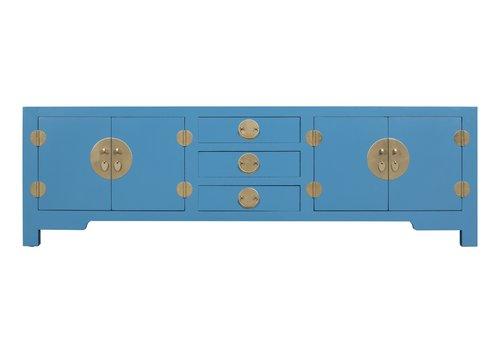 Fine Asianliving Meuble TV Chinois Bleu Saphir - Orientique Collection L175xP47xH54cm