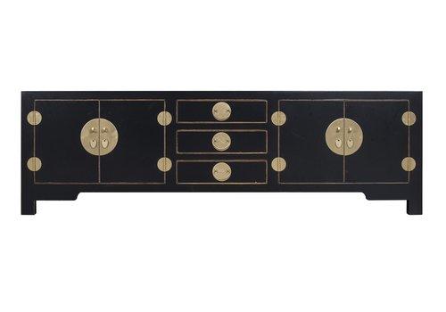 Fine Asianliving Chinesisches TV Lowboard Schrank Onyz Schwarz - Orientique Sammlung B175xT47xH54cm