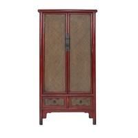Chinesischer Schrank Handgeflochtener Bambus Rot B90xT48xH180cm