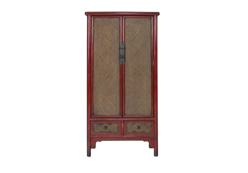 Fine Asianliving Chinese Cabinet Handbraided Bamboo Red L90xW48xH180cm