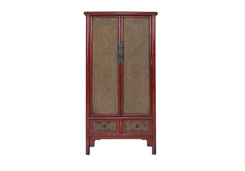 Fine Asianliving Chinese Kast Handgevlochten Bamboe Rood B90xD48xH180cm