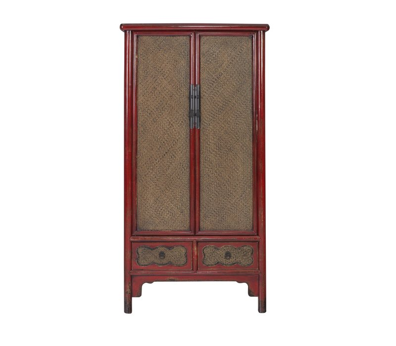 Chinese Cabinet Handbraided Bamboo Red L90xW48xH180cm