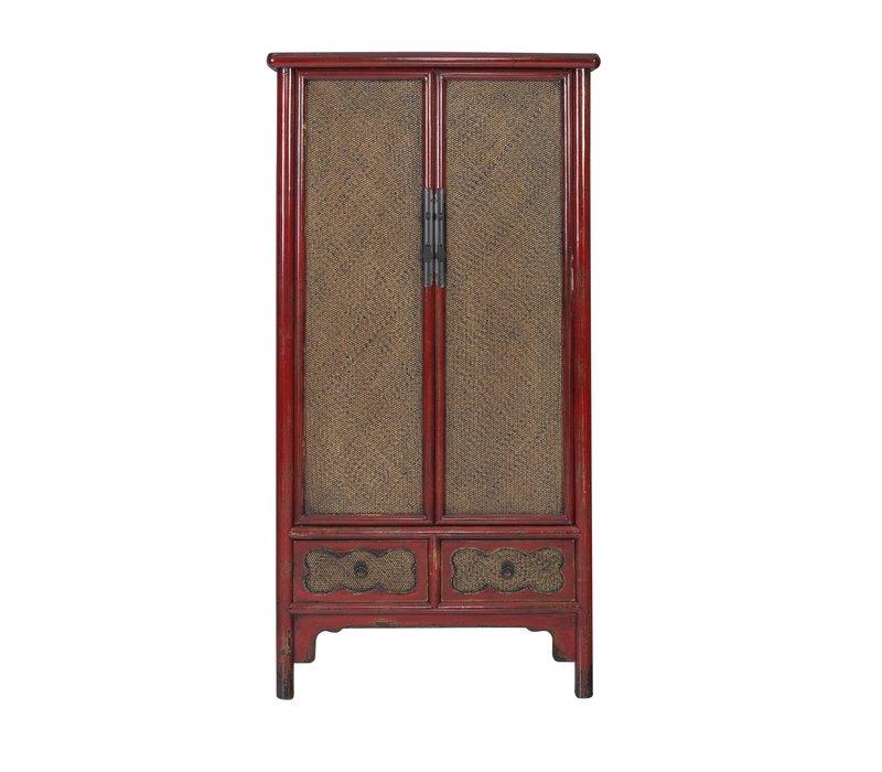 Chinese Kast Handgevlochten Bamboe Rood B90xD48xH180cm
