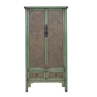 Chinese Cabinet Handbraided Bamboo Mint L90xW48xH180cm