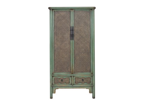 Fine Asianliving Chinese Cabinet Handbraided Bamboo Mint L90xW48xH180cm