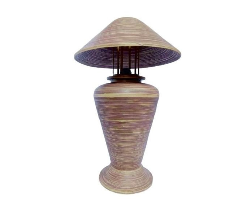 Bamboo Table Lamp Spiral Handmade Brown 40x40x65cm