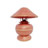 Bamboe Tafellamp Spiraal Handgemaakt Rood D37xH40cm