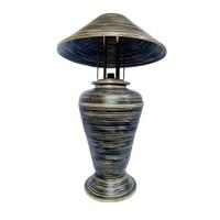 Tischlampe Bambus Spirale Handgefertigt Schwarz 40x40x65cm