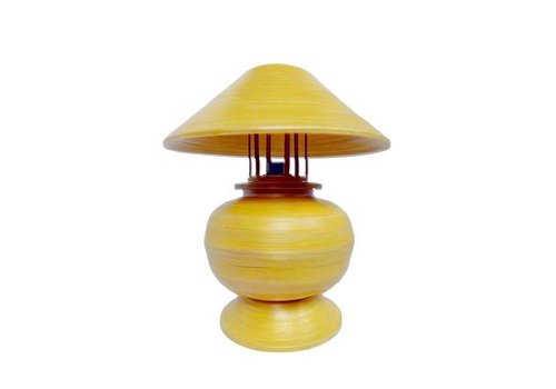 Fine Asianliving Bamboo Table Lamp Spiral Handmade Yellow 37x37x40cm