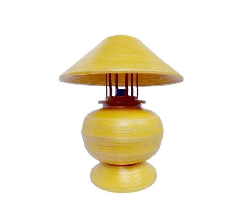 Tischlampe Bambus Spirale Handgefertigt Gelb 37x37x40cm