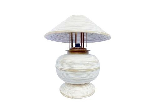 Fine Asianliving Bamboo Table Lamp Spiral Handmade White 37x37x40cm