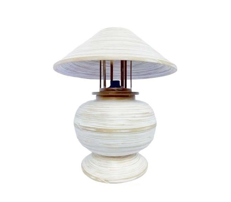 Bamboo Table Lamp Spiral Handmade White 37x37x40cm