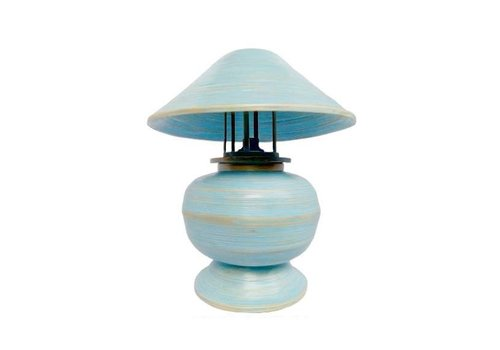 Fine Asianliving Bamboo Table Lamp Spiral Handmade Blue 37x37x40cm