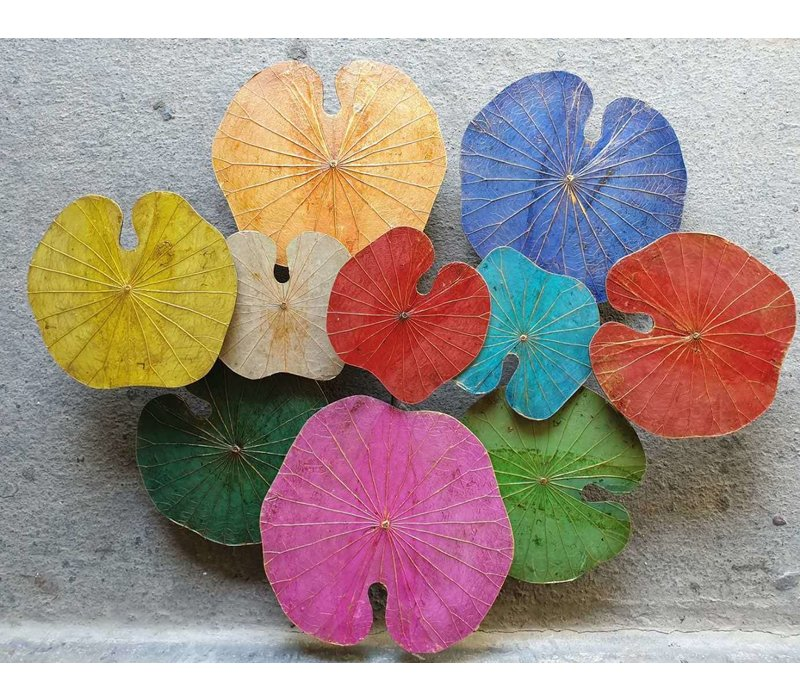 Real Lotus Painting Sustainable Wall Art 3D Multicolour