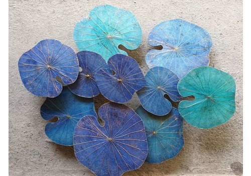 Fine Asianliving Real Lotus Painting Sustainable Wall Art 3D Blue