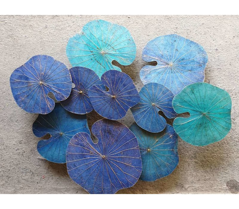 Real Lotus Painting Sustainable Wall Art 3D Blue