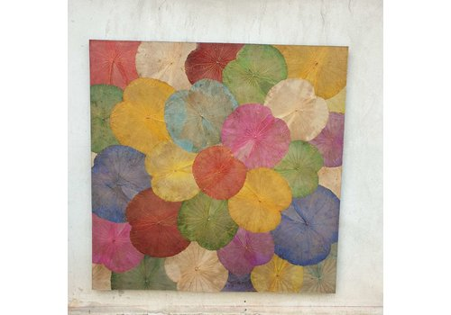 Fine Asianliving Real Lotus Painting Sustainable Wall Art Multicolur