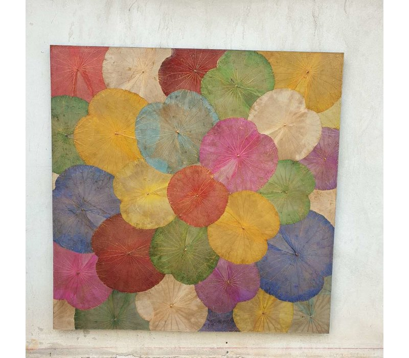 Real Lotus Painting Sustainable Wall Art Multicolur