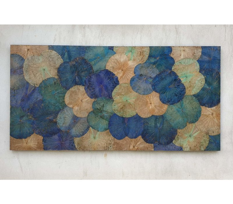 Real Lotus Painting 100x180cm Sustainable Wall Art Sapphire Blue