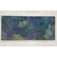 Real Lotus Painting 80x180cm Sustainable Wall Art Ocean Blue