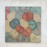 Décoration Murale Feuille de Lotus Vintage multicouleur