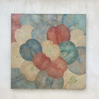 Real Lotus Painting 120x120cm Sustainable Wall Art Vintage Multicolour