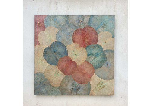 Fine Asianliving Real Lotus Painting Sustainable Wall Art Vintage Multicolour