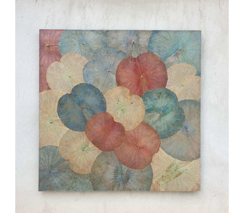 Echt Lotus Schilderij 120x120cm Duurzame Wall Art Vintage Multicolour