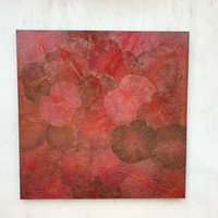 Lotus Leaf Painting Sustainable Wall Art Passion Red