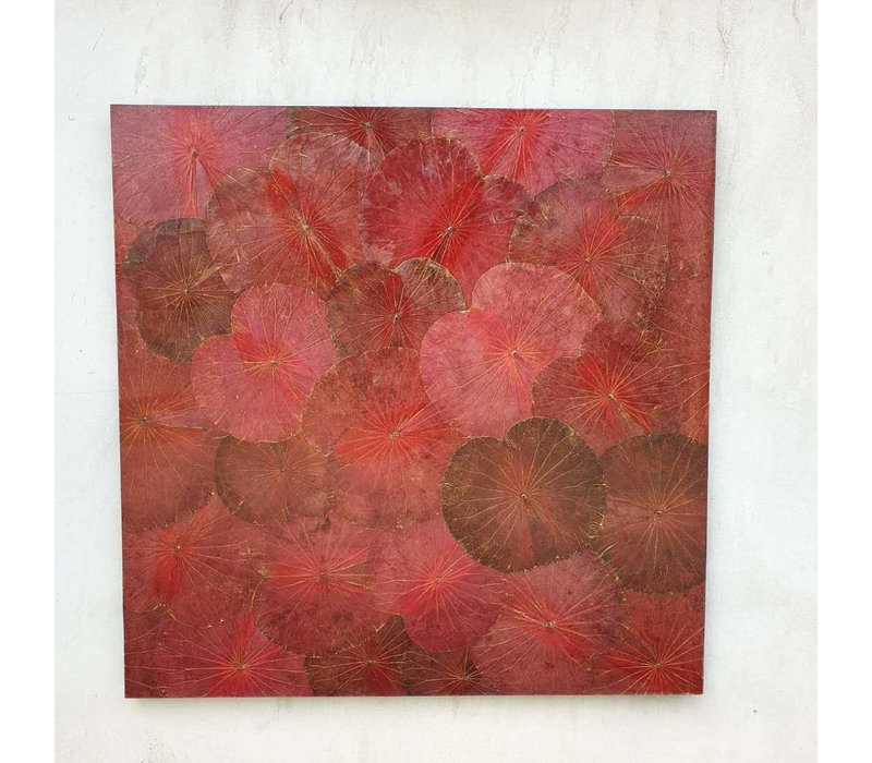 Real Lotus Painting 120x120cm Sustainable Wall Art Passion Red