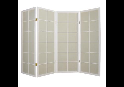 Fine Asianliving Biombo Separador Japonés A180xA130cm 4 Paneles Shoji Papel de Arroz Blanco