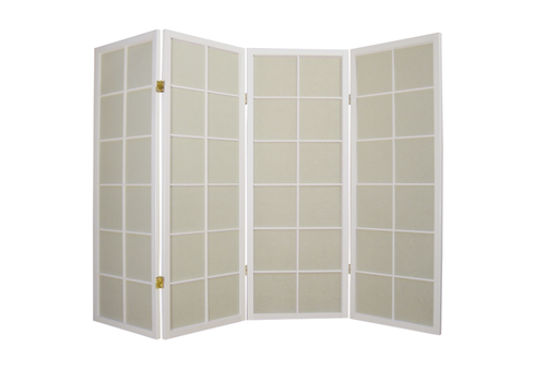 Fine Asianliving Japanese Room Divider 4 Panels W180xH130cm Privacy Screen Shoji Rice-paper White