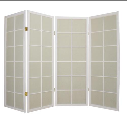 Fine Asianliving Japanese Room Divider L180cmxH130cm Shoji Rice Paper White 4 Panel