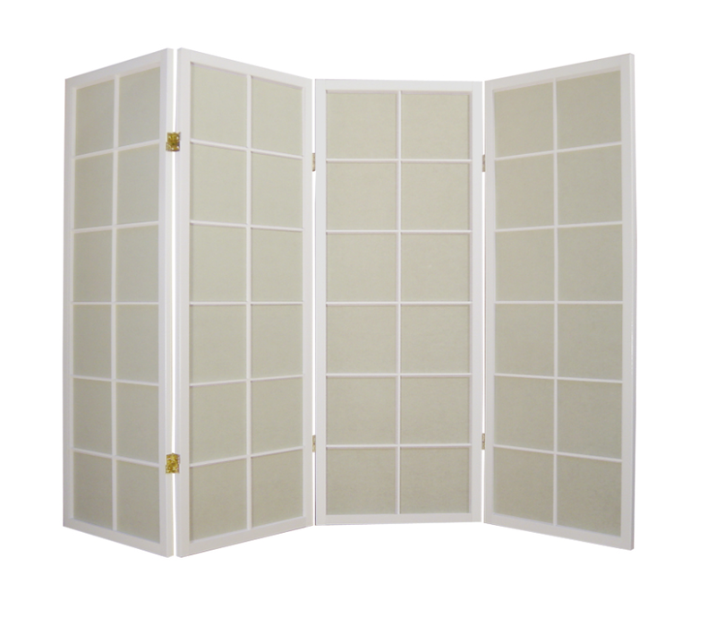 Fine Asianliving Japanese Room Divider L180cmxH130cm Shoji Rice Paper White 4 Panel