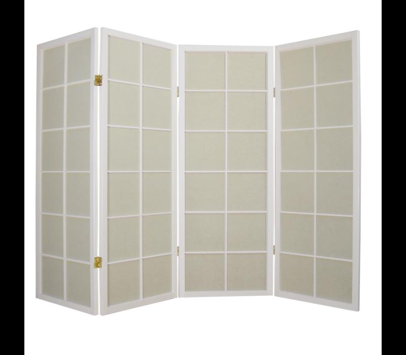 Japanischer Paravent Raumteiler Trennwand B180xH130cm 4-teilig Shoji Reispapier Weiß