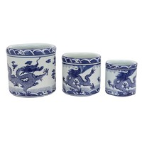 Chinese Bloempot Blauw Keramiek Draak Handbeschilderd Set/3