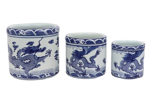 Fine Asianliving Chinese Bloempot Draak Handbeschilderd Set/3