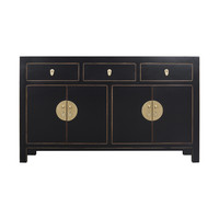 Chinese Sideboard Onyx Black - Orientique Collection L140xW35xH85cm