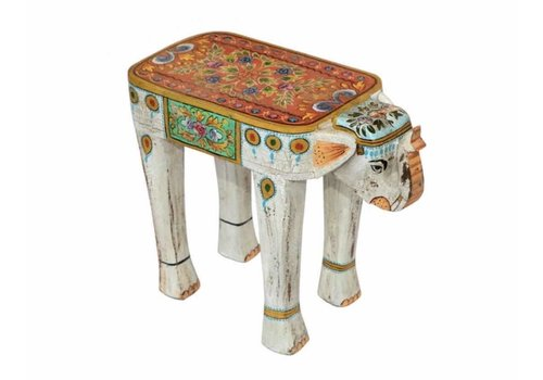 Fine Asianliving Wooden Stool Elephant Handpainted 26x58x47cm Handmade in India