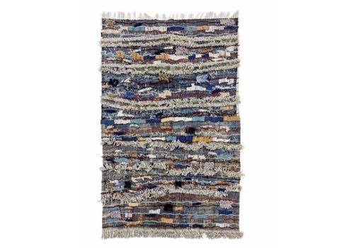 Fine Asianliving Indischer Teppich Handgemacht Baumwolle Dhurry mit Stickerei 150x240cm