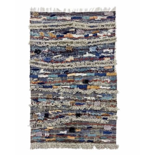 Indian Rug Handmade 150x240cm Cotton Dhurry with Embroidery