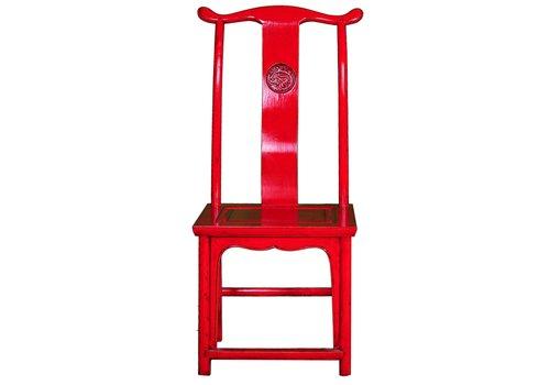 Fine Asianliving Chinesischer Esszimmerstuhl Holz Rot B50xT50xH56cm