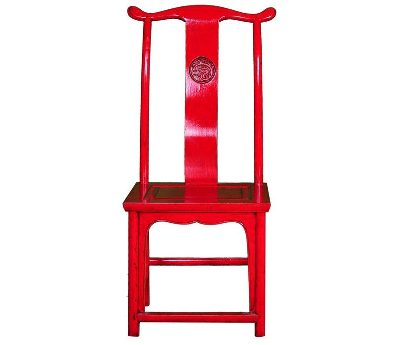 Chinesischer Esszimmerstuhl Holz Rot B50xT50xH56cm