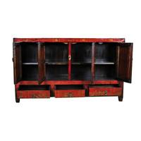 Antiek Chinees Dressoir Handbeschilderd Bloemen Rood B153xD40xH91cm