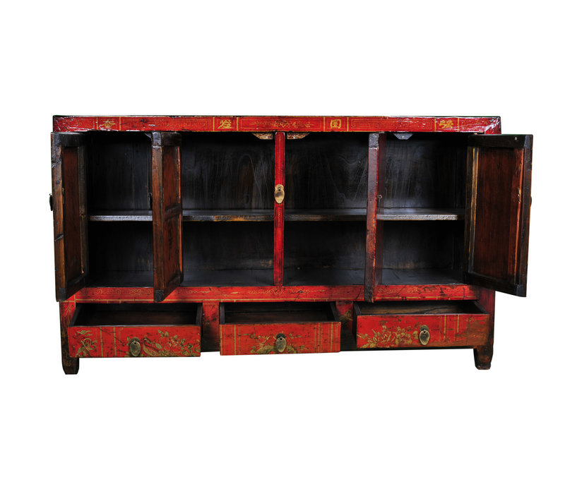 Antique Chinese Sideboard Red Handpainted W153xD40xH91cm