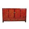 Fine Asianliving Antiek Chinees Dressoir Handbeschilderd Bloemen Rood B153xD40xH91cm