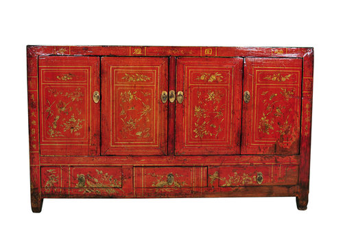 Fine Asianliving Antique Chinese Sideboard Red Handpainted W153xD40xH91cm