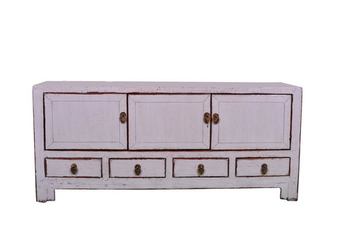 Fine Asianliving Antique Chinese TV Cabinet White W130xD40xH58cm